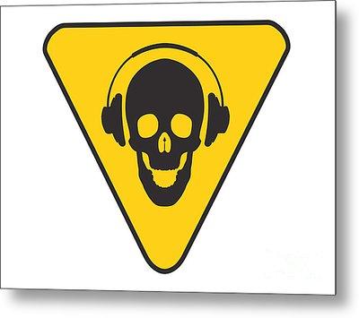 Dj Skull On Hazard Triangle Metal Print by Pixel Chimp