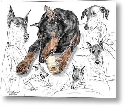 Metal Print featuring the drawing Dober-thoughts - Doberman Pinscher Montage Print Color Tinted by Kelli Swan