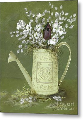 Metal Print featuring the painting Dogwood Cuttings  by Nancy Patterson