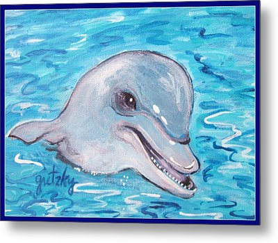 Dolphin 2 Metal Print by Paintings by Gretzky