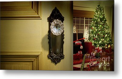 Door Looking Into Christmas Tree Metal Print by Sandra Cunningham