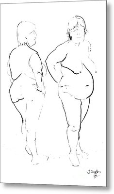 Double Standing Female Nude Metal Print by Joanne Claxton