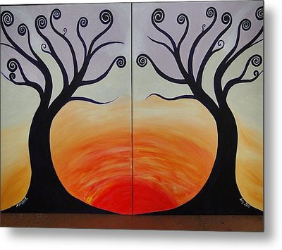 Double Trees Metal Print by Monica Moser