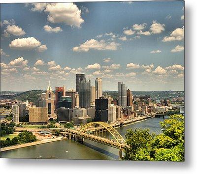 Downtown Pittsburgh Hdr Metal Print by Arthur Herold Jr