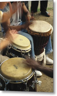 Drummers Of Varied Backgrounds Join Metal Print by Stephen St. John