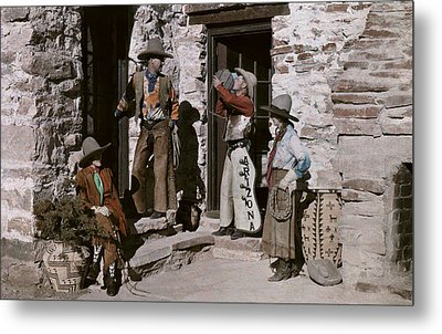 Dude Ranch Guests Pretend To Be Cowboys Metal Print by Clifton R Adams