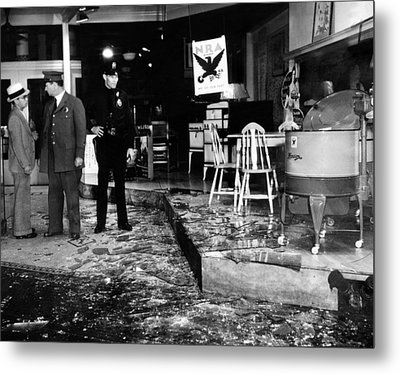 Earthquake Damages A Store In The Heart Metal Print by Everett