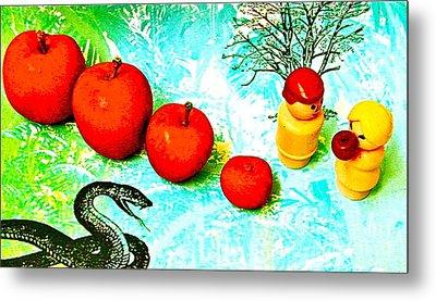 Eating Apples Metal Print by Ricky Sencion