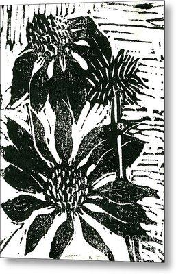 Echinacea Block Print Metal Print