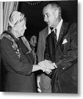 Eleanor Roosevelt Shaking Hands Metal Print by Everett