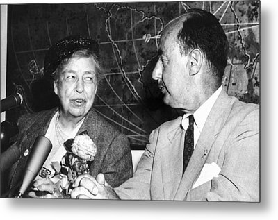 Eleanor Roosevelt Supported Adlai Metal Print by Everett