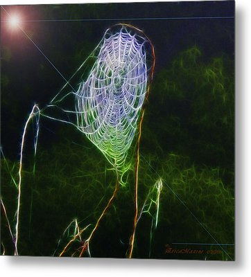 Metal Print featuring the photograph Electric Web In The Fog by EricaMaxine  Price