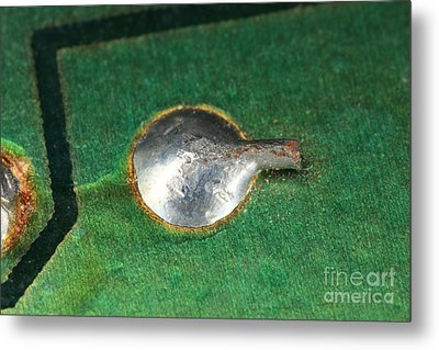 Electronics Board Solder Joint Metal Print by Ted Kinsman