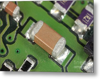Electronics Board With Lead Solder Metal Print by Ted Kinsman
