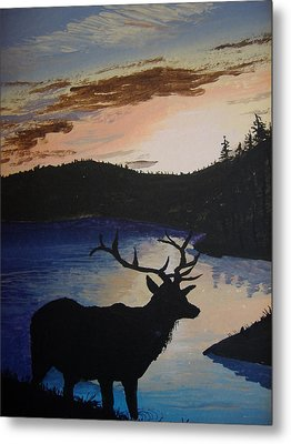 Metal Print featuring the painting Elk At Sunset by Norm Starks