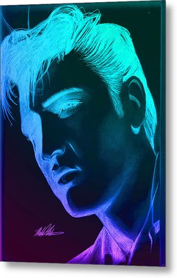 Elvis Neon Metal Print by Michael Mestas