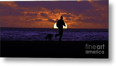 Metal Print featuring the photograph Evening Run On The Beach by Clayton Bruster