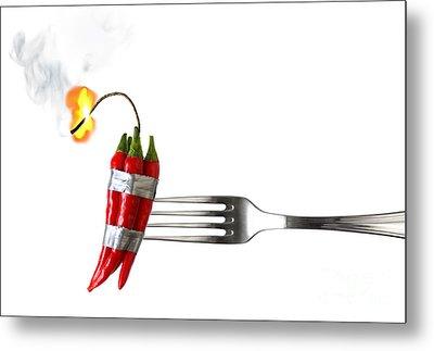 Explosive Food Metal Print by Carlos Caetano