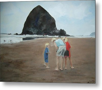 Family By The Sea Metal Print