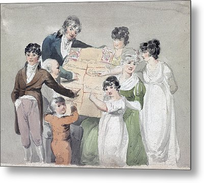 Family Group - Smith, His Wife And Six Metal Print by Everett