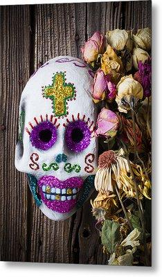 Fancy Skull And Dead Flowers Metal Print by Garry Gay