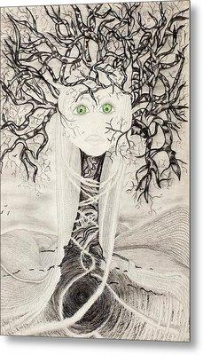 Metal Print featuring the drawing Fear by Yolanda Raker
