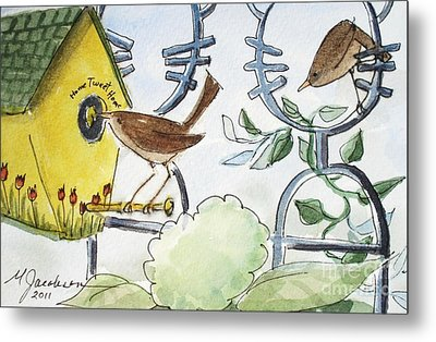 Feeding The Baby Wrens Metal Print by Marilyn Jacobson