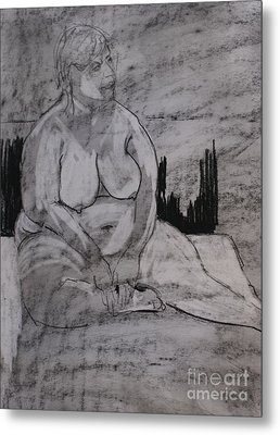 Female Nude Seated Metal Print by Joanne Claxton