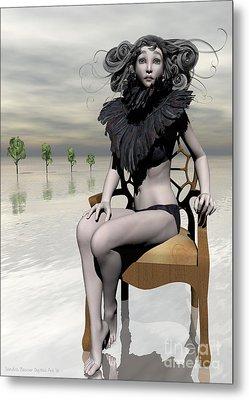 Femme Avec Chaise Metal Print