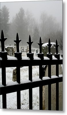 Fence With Snow Metal Print