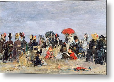 Figures On A Beach Metal Print by Eugene Louis Boudin
