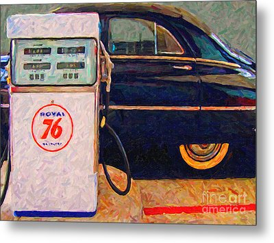 Fill Her Up At The Old Royal 76 Gas Station Metal Print by Wingsdomain Art and Photography