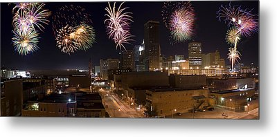 Fireworks Over The City Metal Print by Ricky Barnard