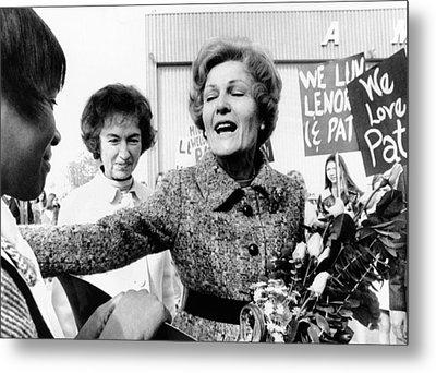 First Lady Pat Nixon Visiting Detroit Metal Print by Everett