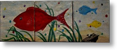 Fish In A Sea Of Colored Bubbles Metal Print by Sandra Maddox