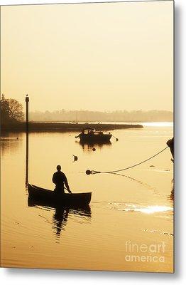 Fisherman On Lake Metal Print by Pixel Chimp