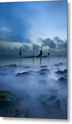 Fishermen At Blue Hour Metal Print by Ng Hock How