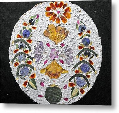 Floral Collage On Handmade Paper No. 2031 Metal Print by Mircea Veleanu