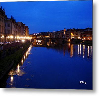 Metal Print featuring the photograph Florence Arno River Night by Patrick Witz