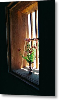 Flower In Window Metal Print