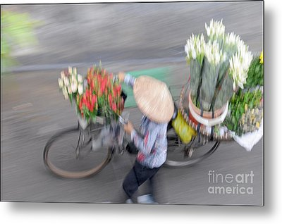 Flower Seller Metal Print