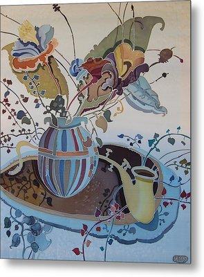 Flowers And Saxophone Metal Print by Irina Dorofeeva