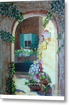 Flowers In Stone Doorway Metal Print by Jeanene Miller