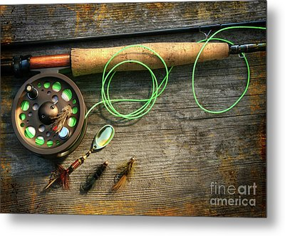 Fly Fishing Rod With Polaroids Pictures On Wood Metal Print by Sandra Cunningham