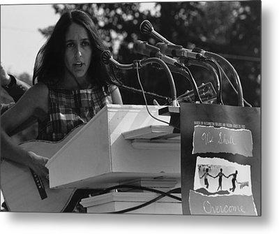 Folk Singer Joan Baez Singing Metal Print by Everett