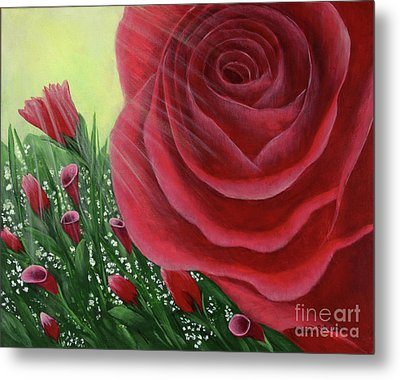 Metal Print featuring the painting For The Love Of Roses by Kristi Roberts