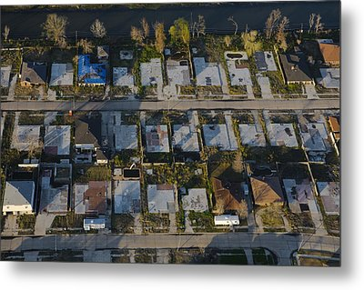 Foundation Slabs Where Flooded Houses Metal Print by Tyrone Turner