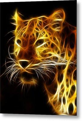 Fractal Leopard Metal Print by Wade Aiken