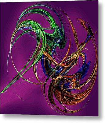 Fractal Tatoo-purple Metal Print by Michael Durst