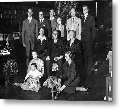 Franklin Roosevelt Family On Christmas Metal Print by Everett